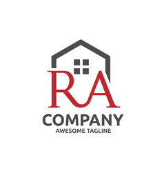 Strong modern letter r and a with roofing style vector