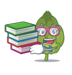 student with book artichoke mascot cartoon style vector image