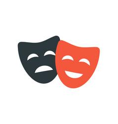 Theatre mask icon silhouette theatre drama comedy vector