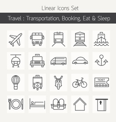 Transportation Booking Line Icons Set vector image