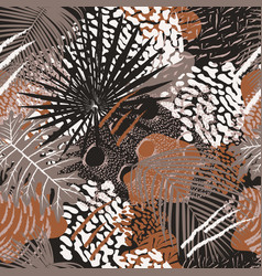 tropical leaves and birds plumage seamless pattern vector image