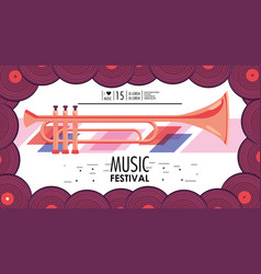 Trumpet instrument to music festival event vector