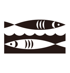 two fish and waves icon vector image