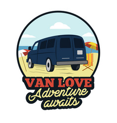 van badge adenture awaits quote happy camper on vector image