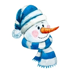 Watercolor hand drawn snowman vector image