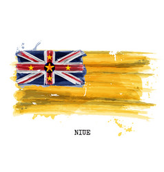 Watercolor painting flag of niue vector