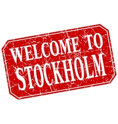 Welcome to Stockholm red square grunge stamp vector