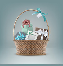 Wicker basket full of gift vector
