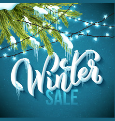 winter sale poster with realistic fir tree vector image