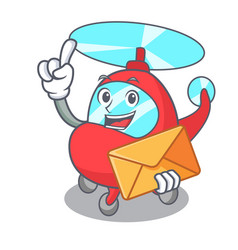 with envelope helicopter character cartoon style vector image