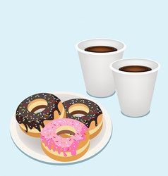 A Hot Coffee in Disposable Cup with Glazed Donuts vector image