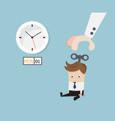 businessman sitting tired with hand turn on wind vector image