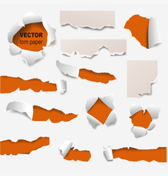 collection of torn edges of a hole paper vector image