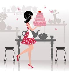 Girl Birthday Cake Card vector image vector image