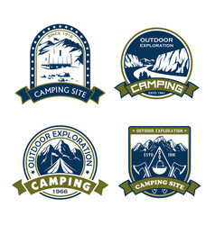 icons for camping site outdoor adventure vector image vector image