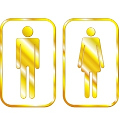 Man and Woman restroom golden signs vector image