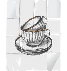 retro tea cups vector image vector image