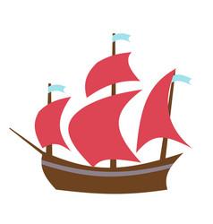 Sailing boat flat style vector