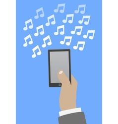 Smartphone in hand music vector image