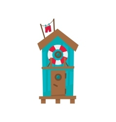 Beach Cabin With Life Preserver Buoy vector image