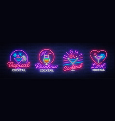 cocktail collection logos in neon style vector image