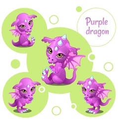 Four cute purple dragon individual icons vector image