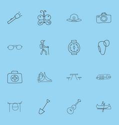 Set of 16 editable trip doodles includes symbols vector