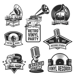 set of retro party emblems design elements for vector image