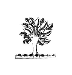 silhouette blurred palm with trunk in hands shape vector image