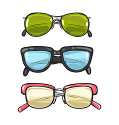 three pairs of sun glasses different spectacles vector image vector image