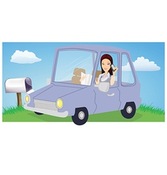 woman chatting in car vector image vector image