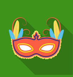 brazilian carnival mask icon in flate style vector image vector image