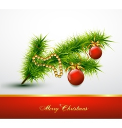 Christmas ball on christmas tree branch vector image