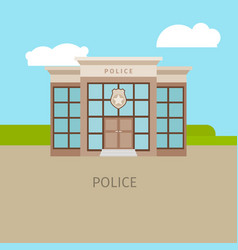 colored urban police building vector image vector image
