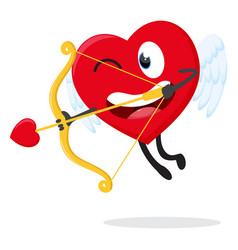 cute heart cupid ready to shoot with arrow vector image
