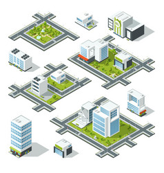 isometric city 3d with office vector image vector image