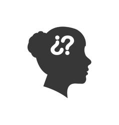 question mark woman head icon graphic vector image vector image