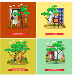 set of kindergarten kids posters in flat vector image vector image