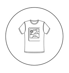 T-shirt icon in outline style isolated on white vector