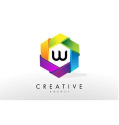 w letter logo corporate hexagon design vector image vector image