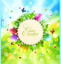 easter background with a round card for text vector image vector image