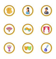 represent icons set cartoon style vector image