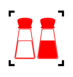 salt and pepper sign red icon inside vector image