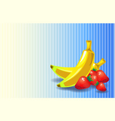 Strawberry banana flat background vector