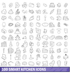 100 smart kitchen icons set outline style vector image