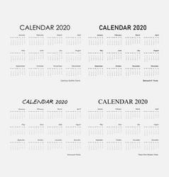 2020 calendar templatecalendar 2020 set 12 vector