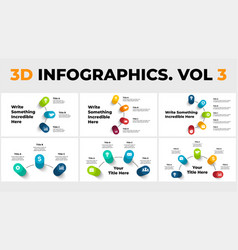 3d perspective infographics pack vector image