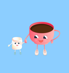 A cup coffee and funny marshmallow cartoon vector