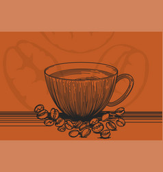 A cup coffee drawing vector