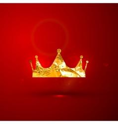 A golden metallic foil royal crown on the vector